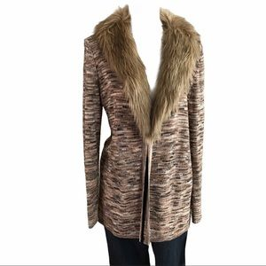 Long cardigan with removable faux fur collar SZ-M